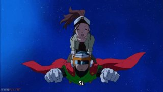 Cocoa-chan y Gohan volando.